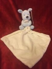 Marks & Spencer Baby Blue Dog Cream Comforter Blankie Soft Toy M&S New