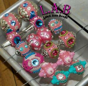 10 pieces Handmade, Indonesian, Boho Beads, Elite Lilah Ann - Pink I103