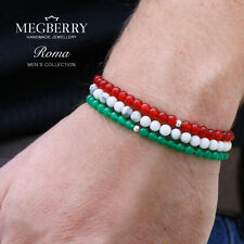 MEGBERRY Set of 3 Beaded bracelets, White, Green, Red & 925 Sterling Silver