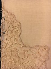 "Antique Vintage Off-White Linen Wedding Hankie - 16"" x 16"""