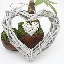 Shabby Chic Wicker Heart Wreath Home Wall Hanging Wedding Birthday Party Decor B