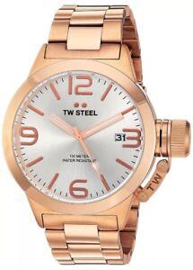 TW Steel CB162 Men's Canteen Quartz 50mm Silver Dial Rose Gold-Tone SS Watch