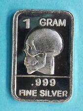 1 Gram .999 Fine Pure Silver  / SKULL /  Bullion !! #18