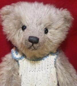 """Jane Humme """"Trudy"""" artist teddy bear mohair 12"""" hand knitted dress"""