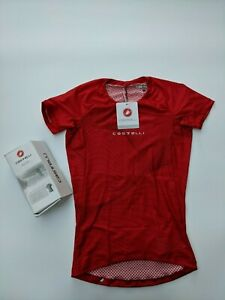 CASTELLI 4520028 Pro Mesh Men's Short Sleeve Base Layer in Red - SIZE S