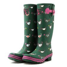 Evercreatures Women's Rubber Green Rain Boots lovely Chicken Wellies