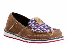 e25f0d0c0f94 Ariat Women's Cruiser MOC Toe Slip on 6 B Dirty Tan Suede/stars and Stripes