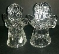 VINTAGE SET OF 2 CRYSTAL GLASS ANGEL MINI TAPER CANDLE STICK HOLDERS CLEAR