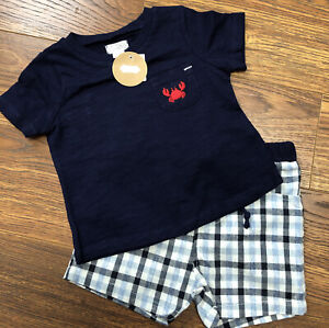 Infant Boys Blue 2 Piece Short And Shirt Size 12-18M By Mud Pie, NWT
