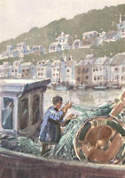 C. H. Thompson - 20th Century Watercolour, Fishermen in Harbour