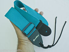 GUITAR STRAP ACOUSTIC & ELECTRIC TURQUOISE NYLON SOLID LEATHER ENDS MADE IN USA