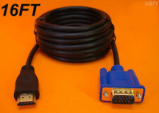 NEW 16 FT 5M LONG HDMI TO VGA MONITOR CABLE COMPUTER TO TV CORD 15-PIN US SELLER