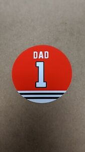 Father's Day - Chicago Blackhawks Dad Magnet - 4 Inch - #1 Dad Jersey Design
