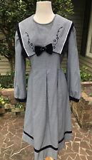 New listing Vintage 80's Herringbone Big Collar Dress, Lolita, Mori Girl, Cottagecore
