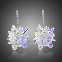 New Made With AB Swarovski Crystals White Gold Plated Drop Dangle Women Earrings