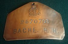 WW2 MILITARY BED PLATE 2570708 HERBERT HENRY BACHE DIED on JAPANESE HELL SHIP 42