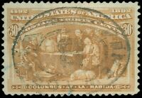US SCOTT #239, Used 30¢ COLUMBIAN ISSUE, Thin & Crease, SON Reg'y Cancel SCV $90