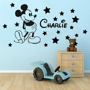 Personalised Kids Name MICKEY MOUSE + Stars Disney Vinyl Wall Art Sticker Decal