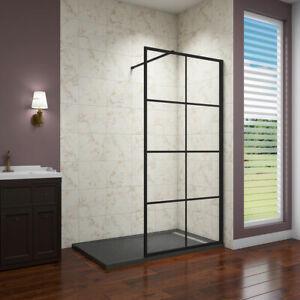 1850H WalkIn Black Shower  NANO Enclosure Glass Screen + Slate Effect Stone Tray