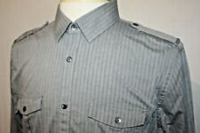 Express Fitted Long Sleeve Gray Herringbone Military Style Shirt Size L 16-16.5