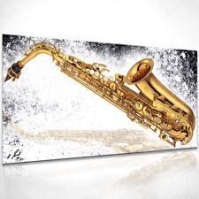 Saxophon Gold Musik Bild Leinwand Abstrakte Bilder Wandbilder Kunstdruck D0552