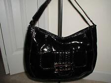 Anya Hindmarch Target Mock Patent Leather Extra Large Black Shoulder Bag Purse