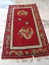1930s Tibetan woolen area rug  carpet meditation nomad tribal red dragons 7x4