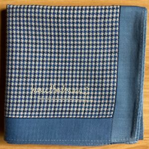 "HANDKERCHIEF VINTAGE ART BLUE HOUNDSTOOTH COTTON MEN'S POCKET SQUARE HANKY 18"""