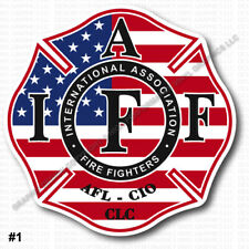 "IAFF Firefighter HELMET Decal 2/"" RETIRED Sticker Red Black White Laminated 0411"