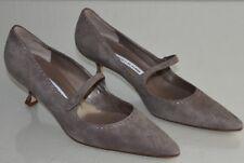 NEW Manolo Blahnik BB Pump MARY JANE Suede Taupe Beige Kitten Heel Shoes 40.5
