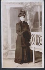 STUDIO RP POSTCARD MATURE EDWARDIAN WOMAN MATCHING STOLE AND SCARF C1907