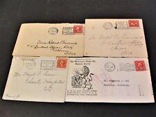 Set of (4) Washington 2 Cent Stamps used on (4) Envelopes corner dated 1920s.
