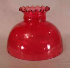 "10"" Glass Cranberry Dot Optic Student Oil Lamp Shade Crimped Top fit Aladdin 075"