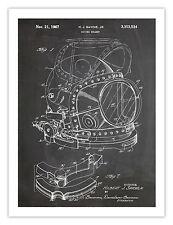 "DIVING HELMET INVENTION POSTER BLACKBOARD 1967 US PATENT ART RETRO PRINT 18x24"""