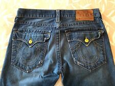 TRUE RELIGION Men's RICKY Yellow Button Distressed Jeans 33 Retail $278