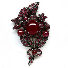 BIG! NATURAL RED RUBY 925 STERLING SILVER FLOWER BROOCH & PENDANT