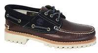 Timberland Authentics 3 Eye Classic Lug Mens Boat Shoes Deck Brown Navy 9752B T5