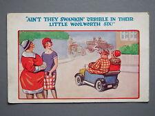 R&L Postcard: Comic, HB, Woolworth Six Small Vintage Car, Cigar Man