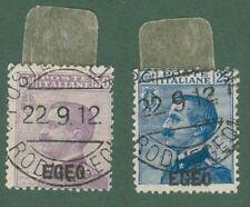EGEO. Anno 1912. Francobolli d'Italia 1908 soprastampati. 2 valori usati.