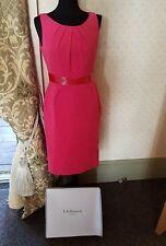 L.K. BENNETT EMBELLISHED HOT PINK SHIFT DRESS  IN BOX UK 10 ~ EX CONDITION.