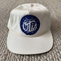 VTG OTIS White Blue Spellout Patch Strapback Hat Elevator Engineering