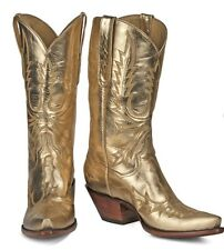 """Very Rare,""""Back at the Ranch"""" """"wings"""" Gold Calf Boots. display, 8.5  MSRP $1300"""