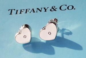 Tiffany & Co Paloma Picasso Diamond Modern Heart Sterling Silver Stud Earrings