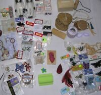 LOT About 60 items: Craft Ink Stamp Container Butterfly Moving Eye Angel VINTAGE