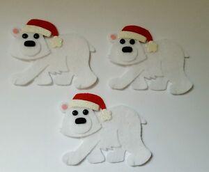 x3 Felt Polar Bear Embellishments. Christmas embellishments. die cuts
