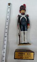 FIGURINE 1° EMPIRE 10 cm en plomb ARTILLERIE DE LA GARDE 1810 sur socle en bois
