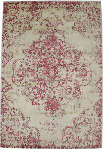 Modern Floral Design Distressed Red Bluff 4X6 Hand-Loomed Rug Home Decor Carpet