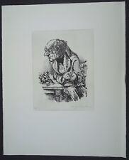 A. Paul Weber Schachspieler II Lithographie 1976 handsigniert
