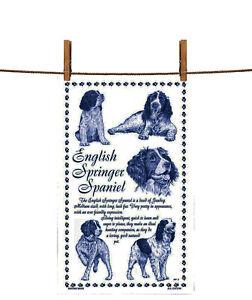 BN English Springer Spaniel White Cotton Tea Towel, Dog Tea Towel, Spaniel Gift