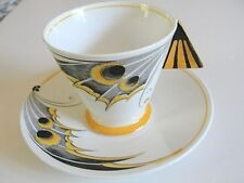 Super Rare 1930 Shelley 11758 deco yellow Butterfly Wing Mode shape cup saucer